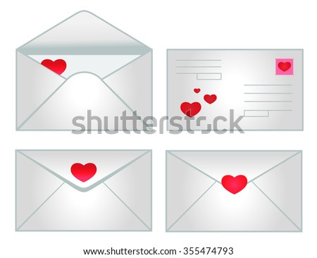 set of icons of envelopes with hearts