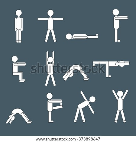 Set of icons of people doing morning exercises