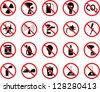 set of icons: pollution, industrial, hazardous - stock photo