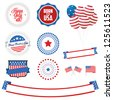 Set of Independence Day labels, ribbons, badges and design elements - stock vector