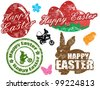 Set of isolated grunge Easter stamps on white background, vector illustration - stock vector