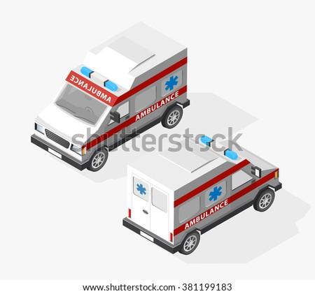 Transport Isometric Set Ambulance Van Isolated Stock Vector ...