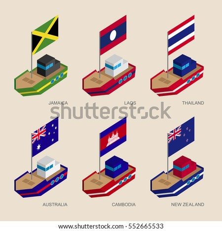 Set of isometric 3d ships with flags of Asian countries. Cartoon vessels with standards -Cambodia, Australia, New Zealand, Laos, Thailand, Jamaica. Sea transport icons for infographics.