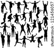 Set of jumping children silhouettes - stock vector
