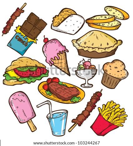 Unhealthy Foods Drawing Cute Doodles Food Junk Stock