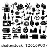 Set of kitchen, cooking and food icons - stock vector