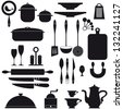 Set of kitchen utensils icons black on white background - stock vector
