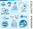 Set of labels and icons for milk   - stock photo