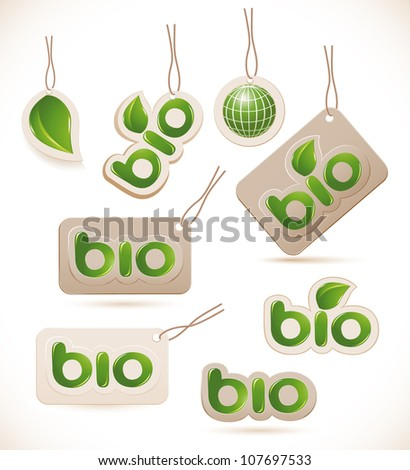 Set of labels bio sign