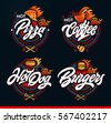 Set of labels, logotype and elements for different fast food. Burgers, pizza, hot dog, coffee