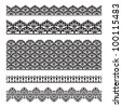 Set of lace trims. Elements can also be used as Illustrator brushes. EPS 8 vector. - stock vector