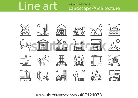 Set Of Landscape Architecture Outline Icons Stock Vector