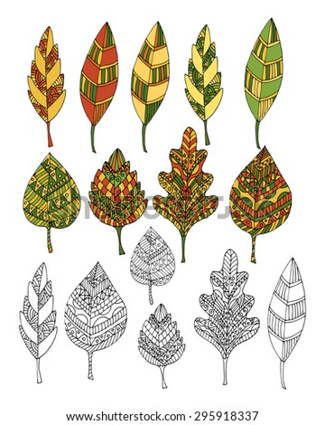 Set of leaves with ethnic pattern. Vector illustration