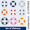Set of lifebuoys - stock vector