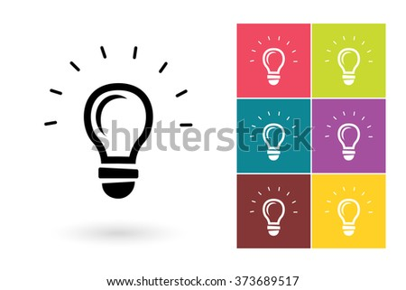 Set of light lamp icon with bulb on different color background. Vector illustration