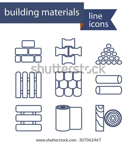 Vector set line icons diy home stock vector 380698279 for I 10 building materials