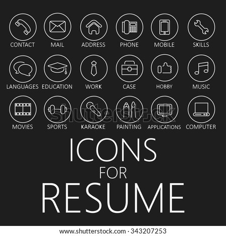 Cfo Resume Icons Set Your Resume Cv Job Stock Vector   Shutterstock Listing Skills On Resume Excel with Restaurant Manager Resume Objective Pdf Set Of Line Icons For Your Resume Cv Job Sas Resume Pdf