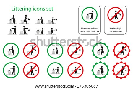 Set of littering icons for man, woman, girl and boy