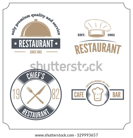 Set of logo and logotype elements for restaurant, cafe and bar