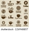 set of logos on coffee - stock vector