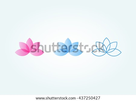 Set of lotus flower (pink, blue, lines)
