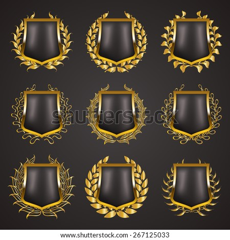 Set of luxury golden vector shields with laurel wreaths. Royal heraldic emblem, icons, label, badge, blazon for web, page design. Vector illustration EPS 10.