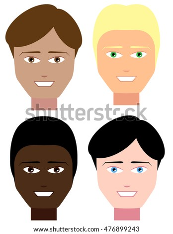 Set of Male Faces