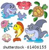 Set of marine animals - vector illustration. - stock vector