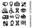 Set of medical icons, basics, isolated on white - stock vector