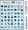 Set of 50 medical icons for design - vector icons - stock vector
