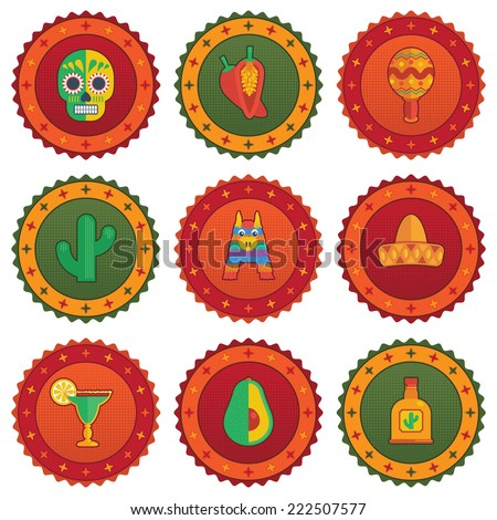 Set Of Mexican Themed Badges With Decorations Isolated On White