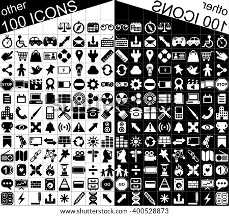 set of 100 minimalistic black and white Web and applications icons