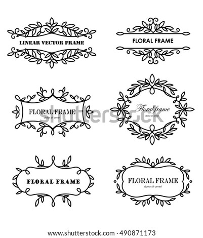 Set of modern floral frames. Design template for banner, card, invitation, label, emblem etc. Elegant linear vector illustration.
