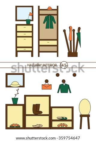 Set Trendy Linear Icons Various Room Stock Vector 352494659 Shutterstock