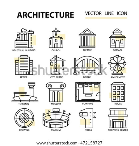 Modern Architecture Characteristics modern thin line icons architecture concept stock vector 411229843