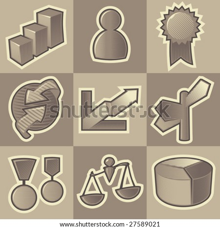 Set of monochrome business retro icons. Hatched in style of engraving. Vector illustration.