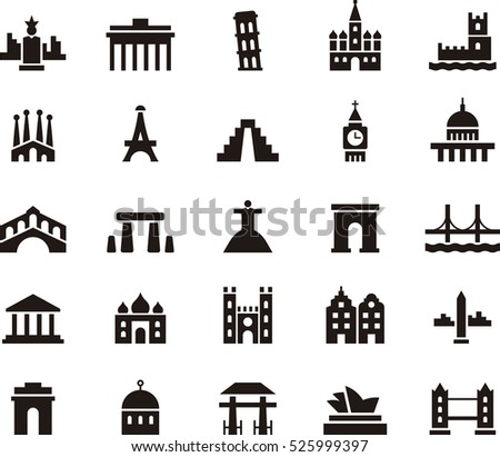 set of MONUMENTS & LANDMARKS black icons
