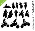 Set of Motorcross silhouettes vector - stock vector