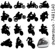 set of motorcycle vector - stock vector
