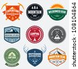 Set of mountain adventure and expedition logo badges - stock vector