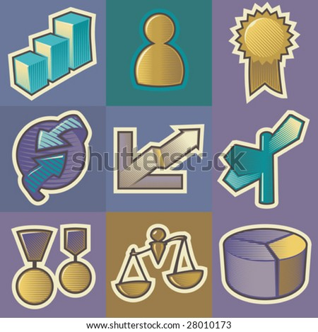 Set of multicolored business retro icons. Hatched in style of engraving. Vector illustration.