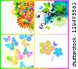 Set of multicolored floral abstractions - stock vector
