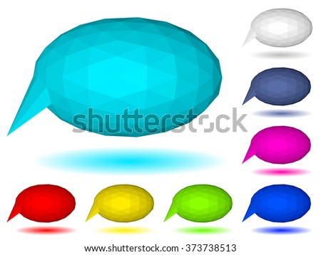 Set of multicolored low polygonal speech bubbles of triangular faces with shadow
