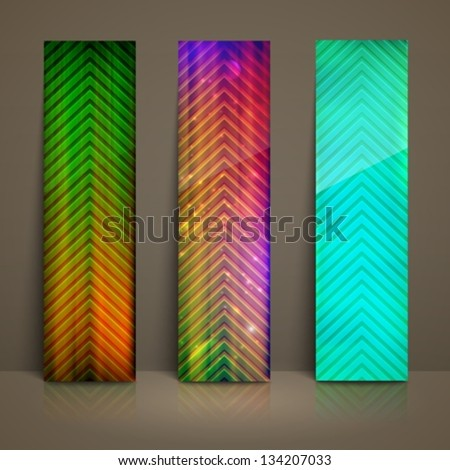set of multicolored striped banners