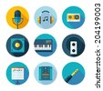 Set of music and sound icons. Vector sound stuff in flat modern style. - stock photo