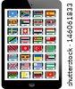 set of nation flag on tablet background - stock