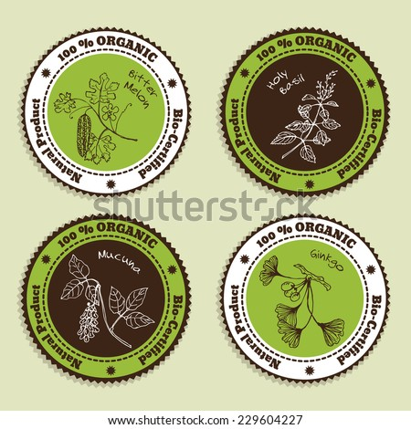 Set of Natural Organic Product badges. Collection of Ayurvedic Herbs. Natural Supplements. Bitter melon, Holy Basil, Mucuna, Ginkgo
