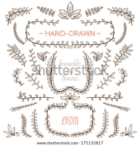 Set of nature elements hand drawn branches and leaves for Decoraciones para hojas