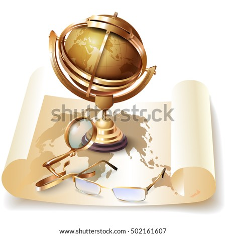 Set of navigation tools. Vector illustration