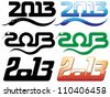 set of 2013 new year of snake text designs - stock vector